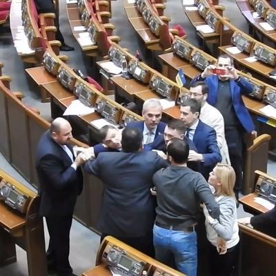 Драка в Раде: Нардепы Кишкар и Головко почубились в сессионном зале (видео)
