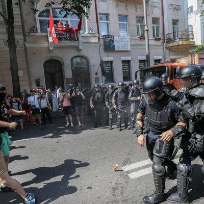 Полиция применила газ против митингующих под Радой