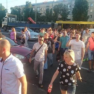Протестующие заблокировали движение транспорта в Киеве (фото)