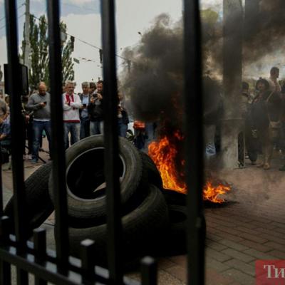 На Майдане в Киеве горят шины