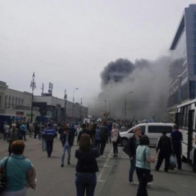 В Киеве масштабный пожар возле ж/д вокзала
