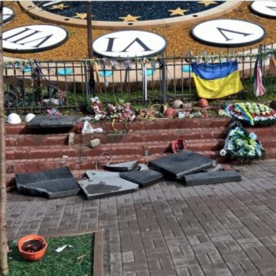 Севастополец растрощил мемориал на Аллее Героев Небесной Сотни (фото)