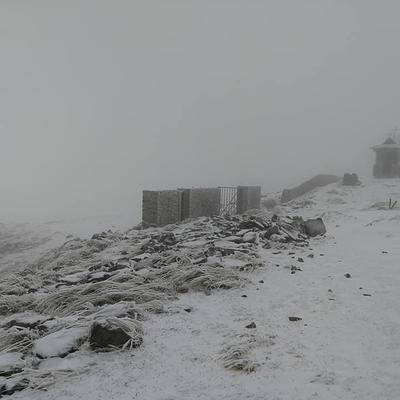 На Закарпатье выпал первый снег - замело вершину горы Поп-Иван (фото)