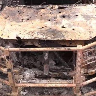 В Песках обстреляли украинских военных медиков, сгорел санитарный автомобиль (видео)