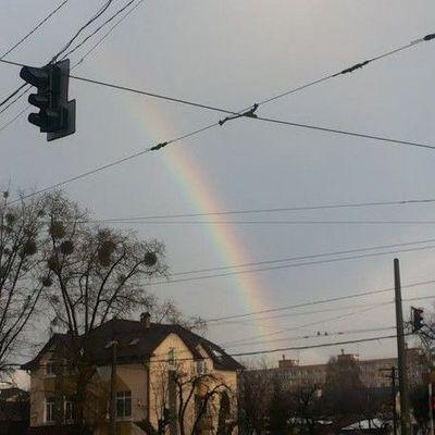 Над Киевом в католическое Рождество появилась зимняя радуга