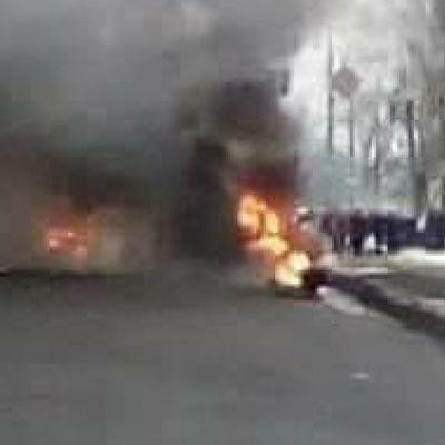 В Киеве масштабная авария, которая спровоцировала пожар (видео)