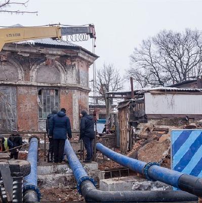 В Харькове здание провалилось под землю