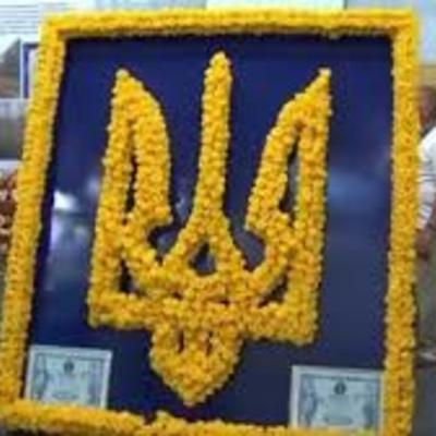 В Киеве появился огромный Герб Украины из роз (видео)