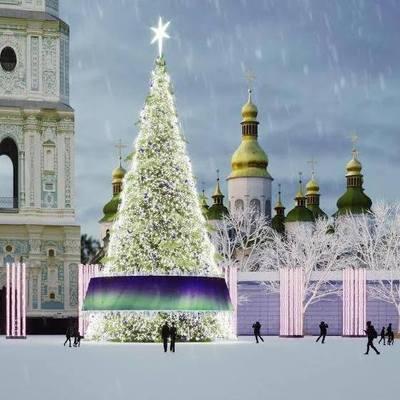 В центре Киева начали устанавливать главную новогоднюю елку страны