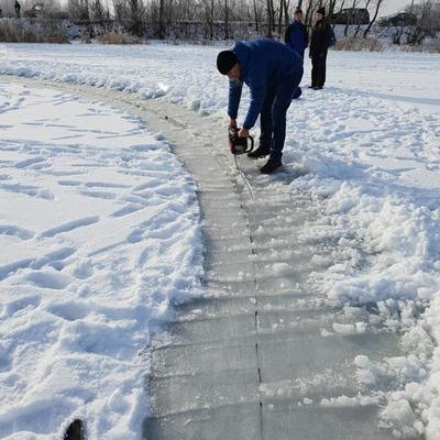 Киевляне соорудили карусель из льдины (видео)
