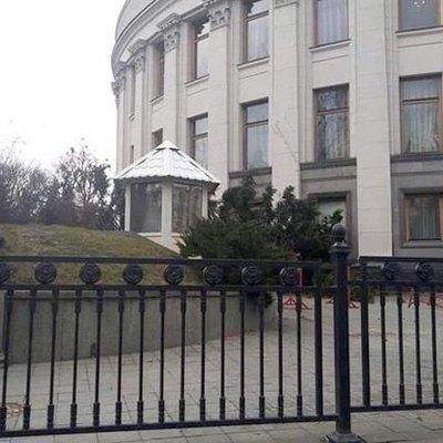 У Верховной Рады огромное дерево заблокировало подъезд для спикера