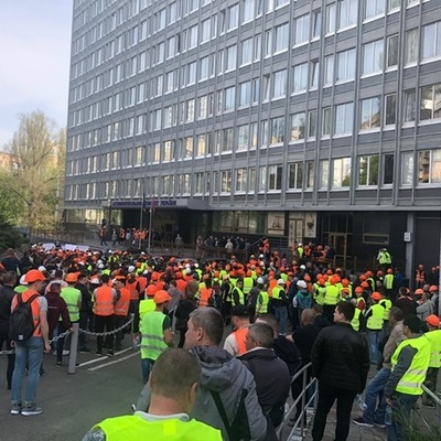 В столице митинговали строители Шулявского моста