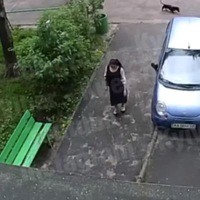В Киеве воровка заходит в подъезд вместе с детьми и совершает кражи в квартирах (видео)