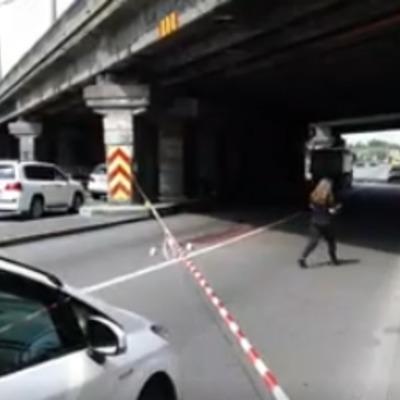В Киеве мужчина бросился с моста под грузовик (видео)