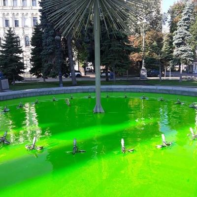 В центре Киева неизвестные покрасили воду в фонтане