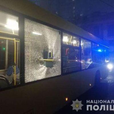 В Киеве забросали камнями автобусы с футбольными болельщиками