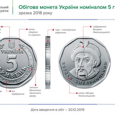 Новые монеты 5 гривен появятся в обиходе с 20 декабря, - ФОТО