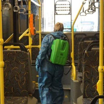 Фото дня. В Киеве дезинфицируют салоны общественного транспорта